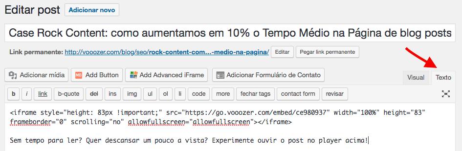 Print screen da edição de posts na plataforma WordPress