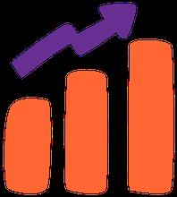 desenho de um gráfico de barras em crescimento